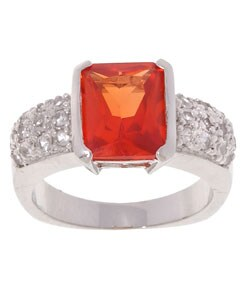 Icz Stonez Sterling Silver White and Orange Created Sapphire Ring