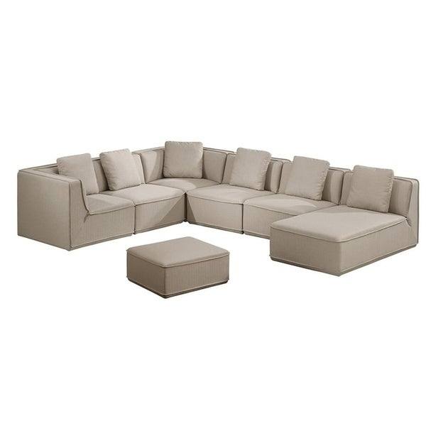 Roanoke Classic Beige 5piece Sectional Sofa with Chaise and Ottoman