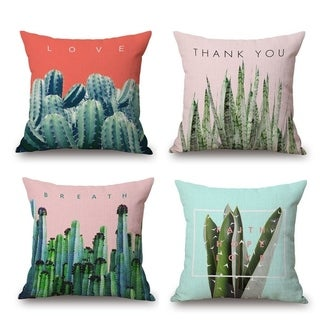 Cotton Linen Pillow Case Cactus 18 x 18 Set of 4