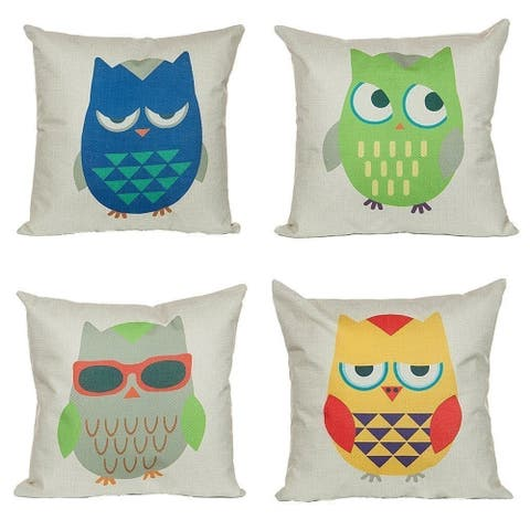 Cotton Linen Pillow Case Cartoon Owl 18 x 18 Set of 4 - Blue/Green/Yellow