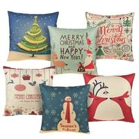 Cotton Linen Pillow Case Christmas 18 x 18 set of 6