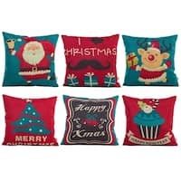 Cotton Linen Pillow Case I Love Christmas 18 x 18 Set of 6