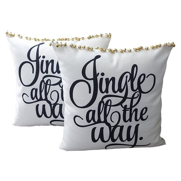 Cotton Linen Pillow Case Jingle All the Way 18 x 18 Set of 2