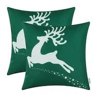Cotton Linen Pillow Case Flying Reindeer Green 18 x 18 Set of 2