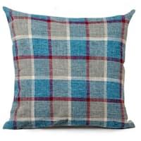 Cotton Linen Pillow Case Blue Red Striped 18 x 18