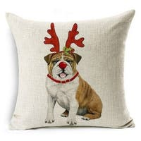 Cotton Linen Pillow Case Rudolph Dog 18 x 18