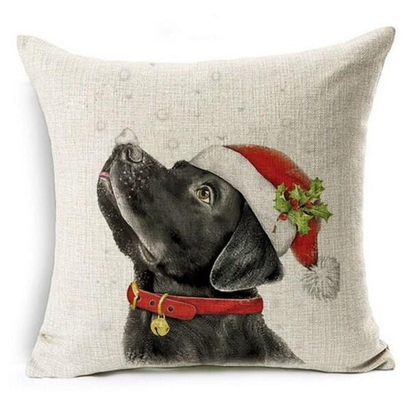 Shop Cotton Linen Pillow Case Black Lab Santa 18 X 18