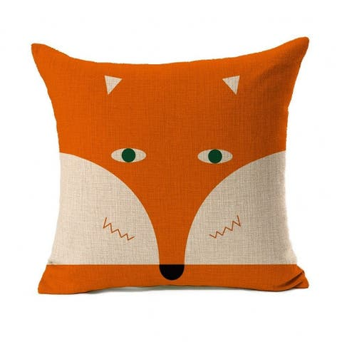 Cotton Linen Pillow Case Cartoon Fox 18 x 18 - Orange