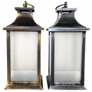 Assortment Of 2 Vintage Style Glass Lantern With Led Copper Light, Gray