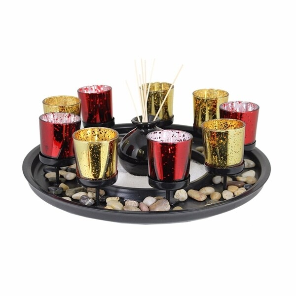 Wonderful 10Piece Wood And Glass Candle Holder, Multicolor