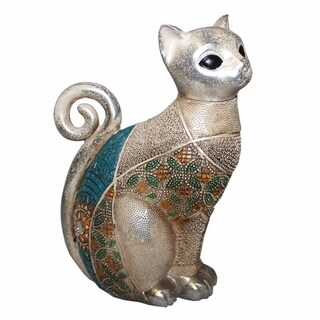 Dazzling Polyresin Cat Figurines, Multicolor