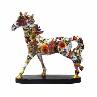 Elegant Polyresin Horse Decor, Multicolor