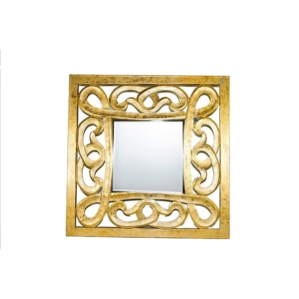 Sculptural Decorative Wooden Wall Mirror, Gold - Free Shipping Today ...