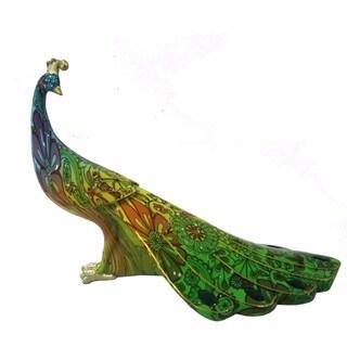Exquisite Polyresin Peacock Figurine, Multicolor