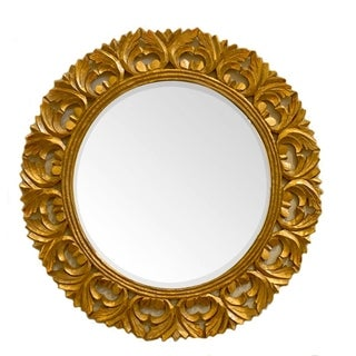 ContemporaryStyle Round Mirror With Wooden Carvings, Gold - N/A