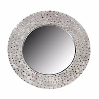Captivating Round Glass Mirror With Mosaic Motif Frame, Silver - N/A