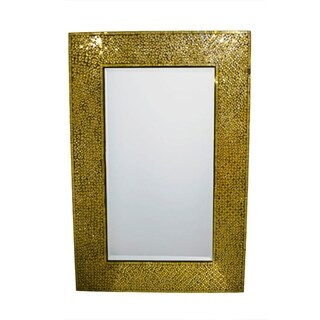 Elegantly Charmed Rectangular Mosaic Patterned Mirror, Gold - N/A