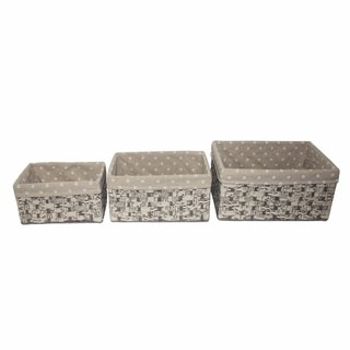 3 Piece Wood Square Storage Basket, Gray