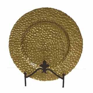 Intriguing Round Glass Charger Plate, Gold