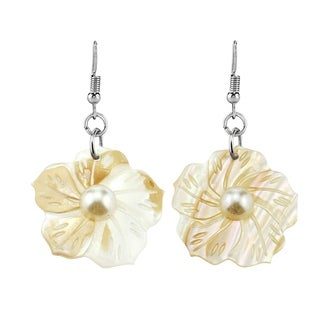 Hand Carved Seashell Tropical Flower Pearl Inlays Dangle Earrings - MultiColor