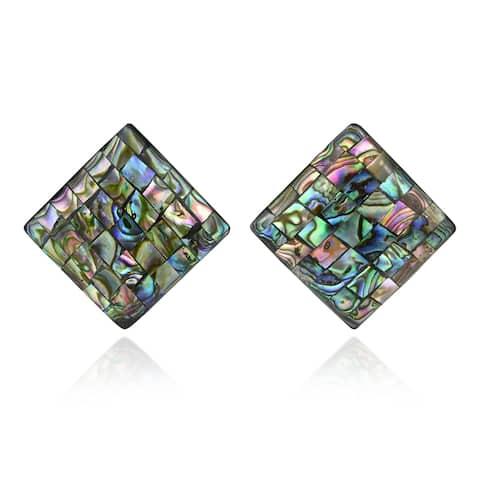 Handmade Elegant Square Shaped Mosaic of Abalone Shell Post Earrings (Thailand)