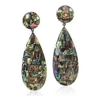 Mosaic of Polished Abalone Shell Teardrop Shaped Dangle Earrings