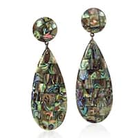 Handmade Mosaic of Polished Abalone Shell Dangle Earrings (Thailand)