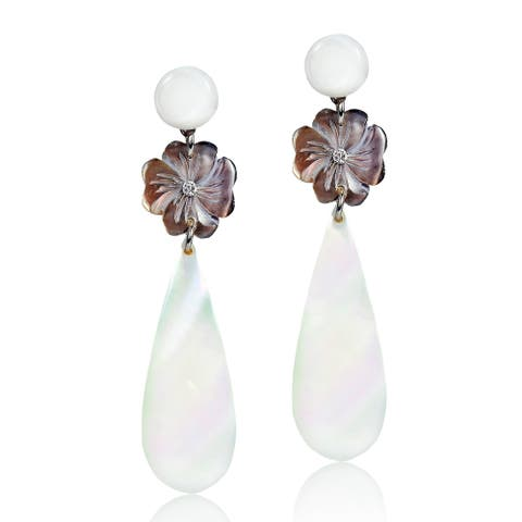 Handmade Beautiful Two-Tone Mother of Pearl Flower & Teardrop Dangle Earrings (Thailand)