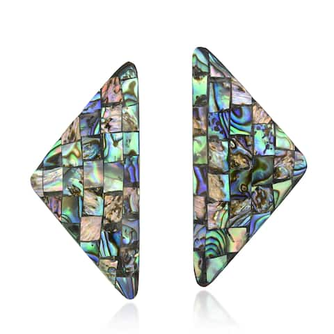 Retro Triangle Shaped Mosaic of Polished Abalone Shell Post Earrings
