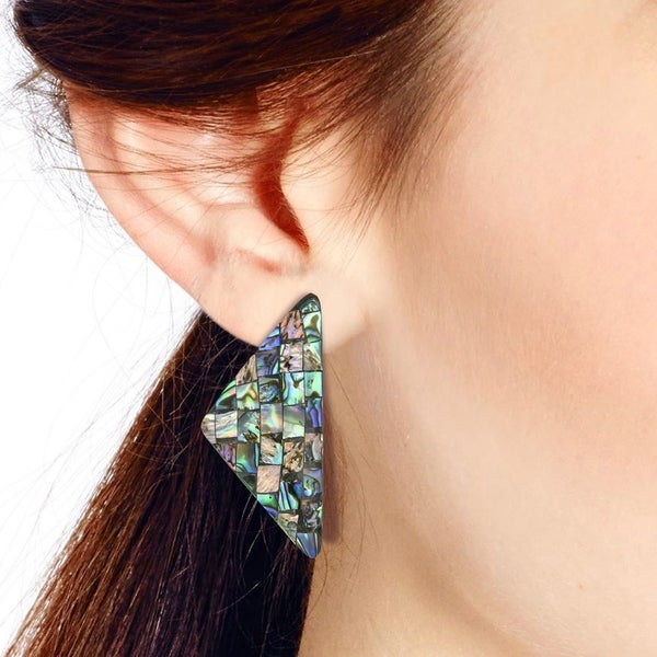 Ladies Elegant Abalone Shell Shape Gemstone Emerald Round Earrings Jewelry CB