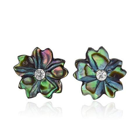 Handmade Shimmering Flower Shaped Abalone Shell Inlaid Crystal Stud Earrings (Thailand)