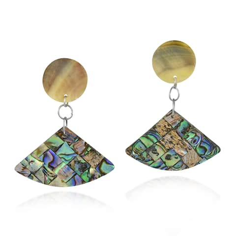 Upside-Down Fan Shaped Mosaic of Abalone Shell Dangle Earrings