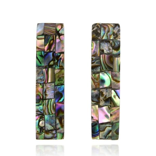 Handmade Amazing Bar Shaped Mosaic of Abalone Shell Dangle Post Earrings. Opens flyout.