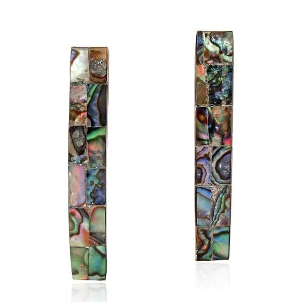 Amazing Bar Shaped Mosaic of Abalone Shell Dangle Post Earrings