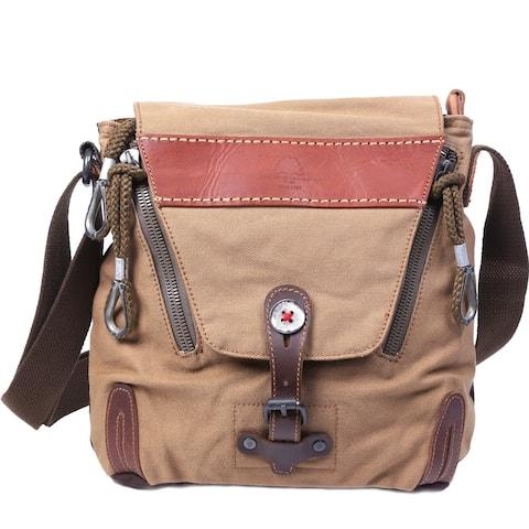 TSD Brand Hidden Woods Canvas Flapover Crossbody Handbag