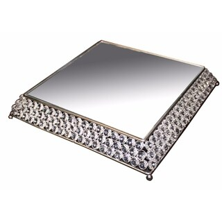 Stunning Aluminum Cake Stand With Clear Glass, Silver - silver and clear