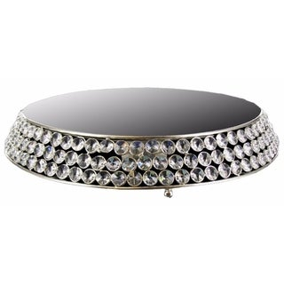 Round Aluminum Cake Stand With Clear Crystal, Silver - silver and clear