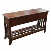 Old World-Style Brown Wooden Console Table With 3 Drawers