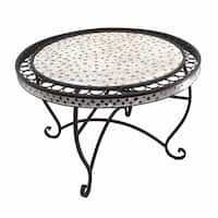 Stylish And Sturdy Round Metal Table with Mosaic Motif, Black
