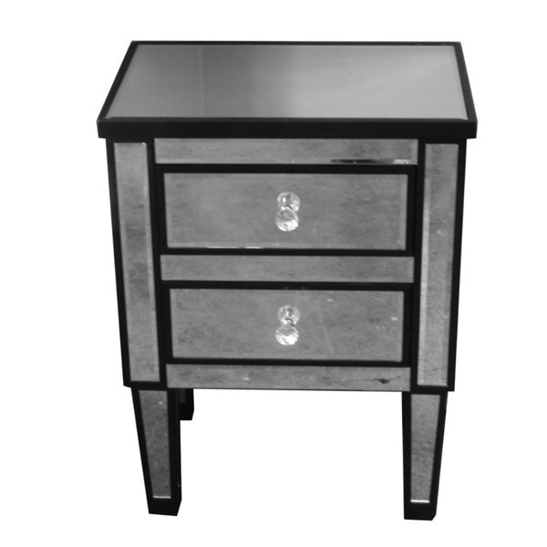 Striking Wood And Glass Corner Table With 2 Drawers, Black And Gray