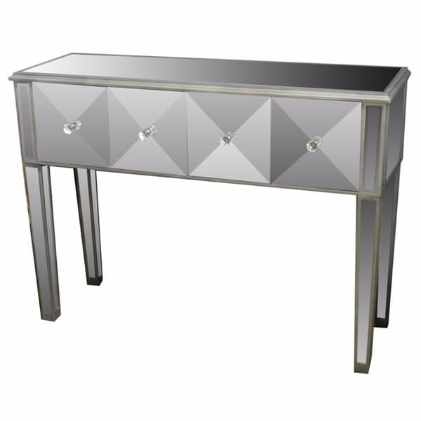 Transitional Style Grey Wooden And Glass Console Table With 4 Drawers