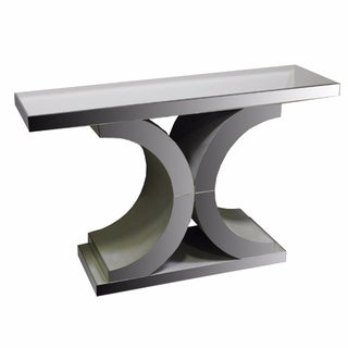 Elegantly Charmed Grey Wood And Glass Console Table