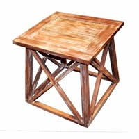 Traditional Style Solid Wooden Side Table, Brown
