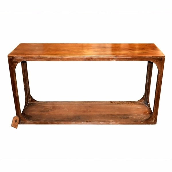Benzara Rectangular Wooden Console Table