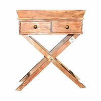 Stylish And Sturdy Wooden Side Table With 2 Drawers, Brown