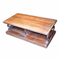 Antique Style Sturdy Wooden Coffee Table, Brown