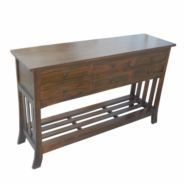 Traditional Brown Wooden Console Table With 6 Drawers