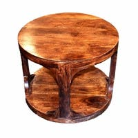 Contemporary Style Round Wooden Side Table, Brown