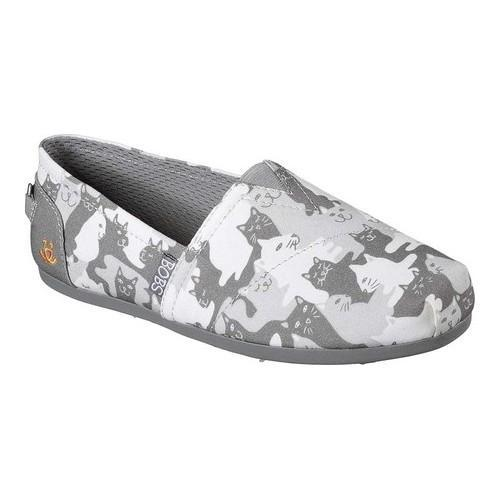 Women's Skechers BOBS Plush Cat-Mouflage Alpargata Gray