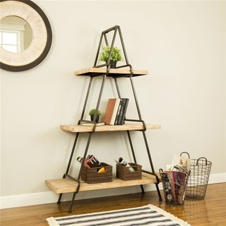 Glitzhome Farmhouse Wooden/Metal 3-Layers Shelf